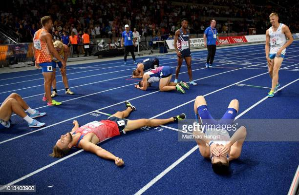 General view of the track as athletes rest after the Decathlon final event the 1500m during day two of the 24th European Athletics Championships at...