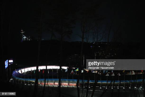 A general view of the track as Cosmin Atodiresei and Stefan Musei of Romania run during the Luge Doubles on day five of the PyeongChang 2018 Winter...