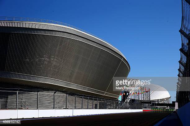 A general view of the track backdropped by the Fisht Olympic Stadium during previews ahead of the Russian Formula One Grand Prix at Sochi Autodrom on...