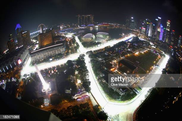 General view of the track during practice for the Singapore Formula One Grand Prix at the Marina Bay Street Circuit on September 21, 2012 in...