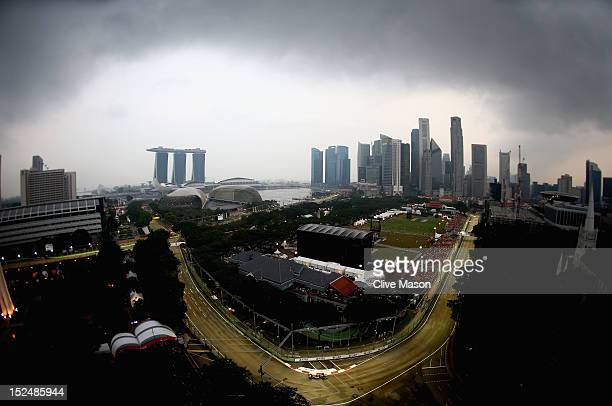 General view of the track during practice for the Singapore Formula One Grand Prix at the Marina Bay Street Circuit on September 21 2012 in Singapore...