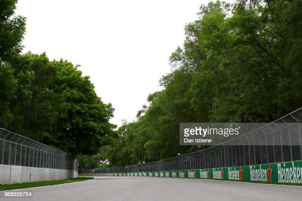 A general view of the track during previews to the Canadian Formula One Grand Prix at Circuit Gilles Villeneuve on June 6 2018 in Montreal Canada