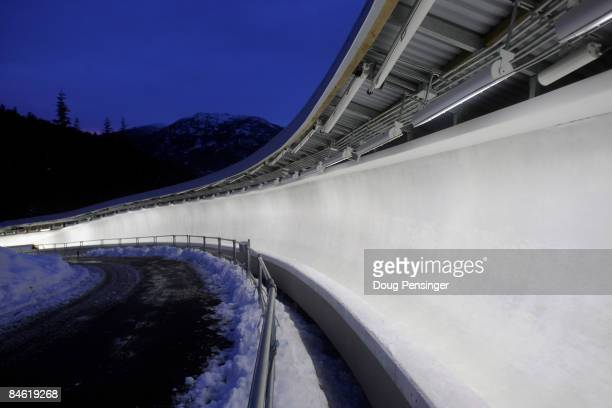 General view of the track during skeleton training for the Bobsleigh and Skeleton World Cup at the Whistler Sliding Center on February 3 2009 in...