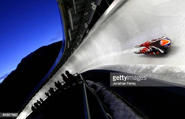A general view of the track during the Wiessmann Luge World Cup on February 20 2009 at the Whistler Sliding Center in Whistler Bristish Columbia...