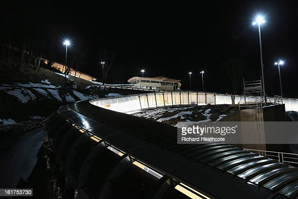 A general view of the track during the Women's Viessman FIBT Bob Skeleton World Cup at the Sanki Sliding Center in Krasnya Polyana on February 15...