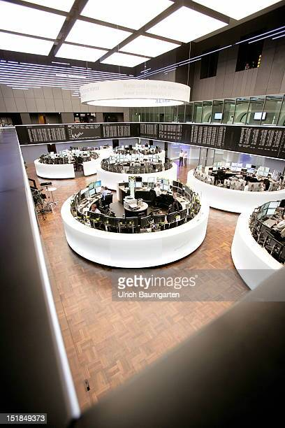 A general view of the trading hall of the Deutsche Boerse Group the German Stock Exchange on August 28 2012 in Frankfurt am Main Germany