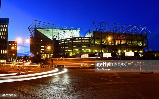 A general view of the traffic arriving at the stadium before the Barclays Premier League match between Newcastle United and Manchester United at St...