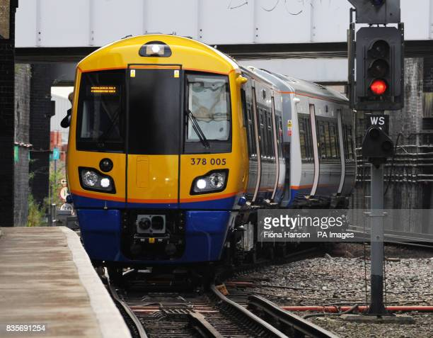 A general view of the train with the new 'worm design' carriage in the first of 54 new trains for Transport for London's Overground network which...