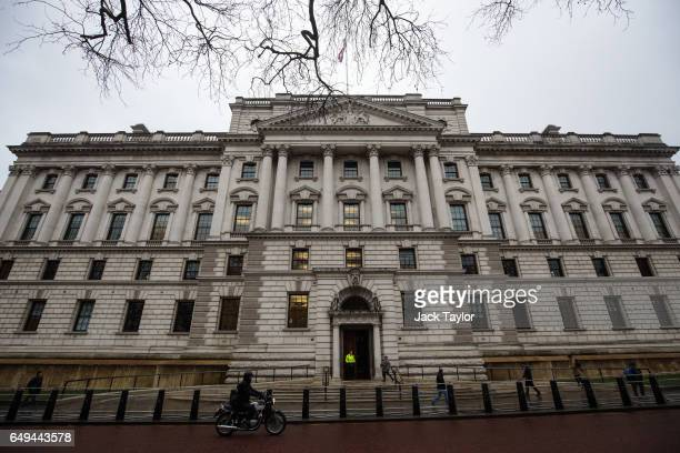A general view of the Treasury building on March 8 2017 in London England Today's Budget will be the last one to take place in the spring It is being...