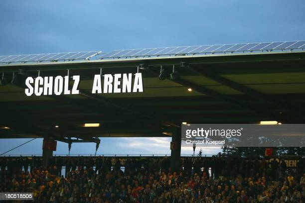 General view of the tribune of the ScholzArena during the Second Bundesliga match between VfR Aalen and 1860 Muenchen at ScholzArena on September 13...
