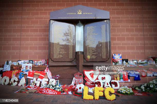 A general view of the tributes left at the Hillsborough Memorial before the Premier League match between Liverpool FC and Manchester City at Anfield...