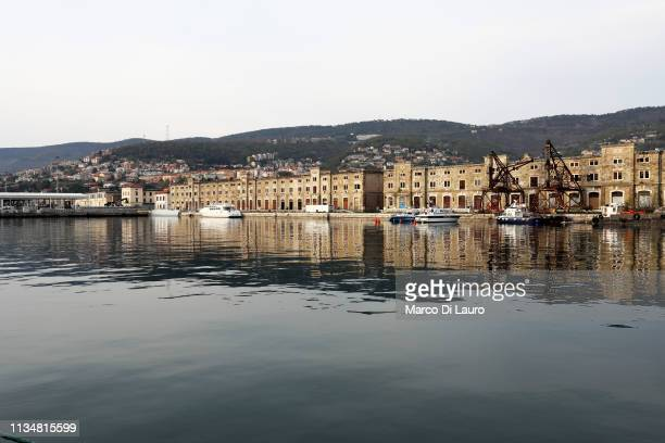 General view of the Trieste Old Port is seen on April 2, 2019 in Trieste, Italy.The historic city of Trieste is preparing to open its new port to...
