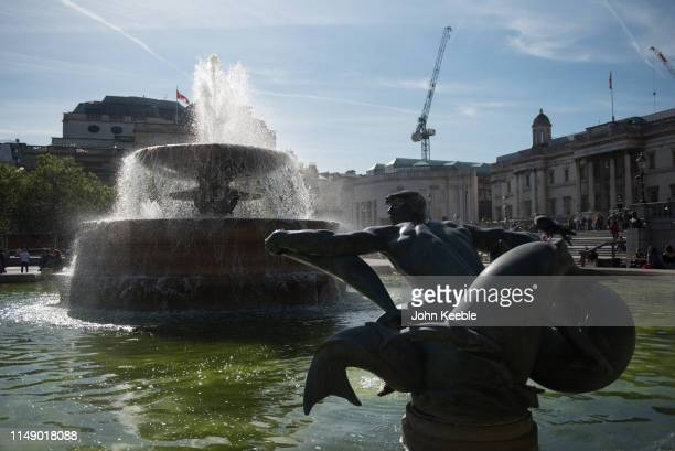 A general view of the triton statue in the fountain at Trafalgar Square on May 13 2019 in London England