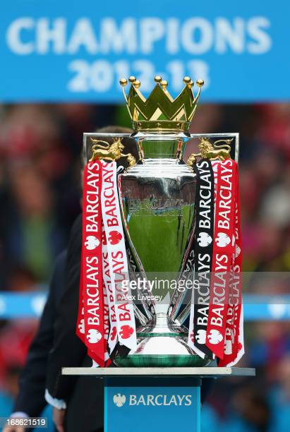 General View of the trophy after the Barclays Premier League match between Manchester United and Swansea City at Old Trafford on May 12 2013 in...