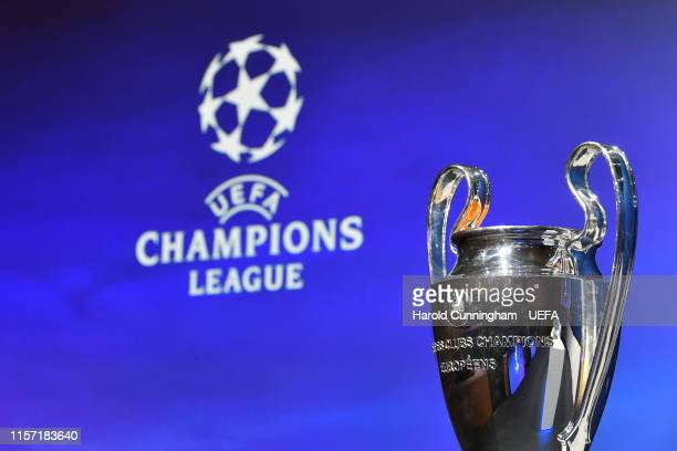 A general view of the trophy ahead of the UEFA Champions League 2019/20 Third Qualifying Round draw at the UEFA headquarters The House of European...
