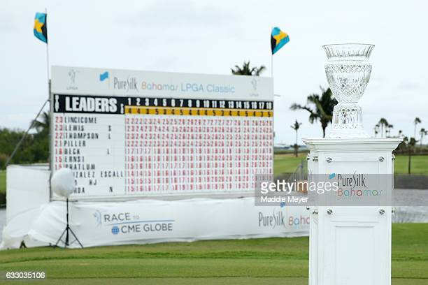 A general view of the trophy and leaderboard after the final round of the Pure Silk Bahamas LPGA Classic on January 29 2017 in Paradise Island Bahamas