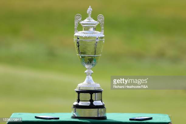 General View of the trophy and medals during the Final on Day Six of the Amateur Championship at Royal Birkdale on August 30, 2020 in Southport,...