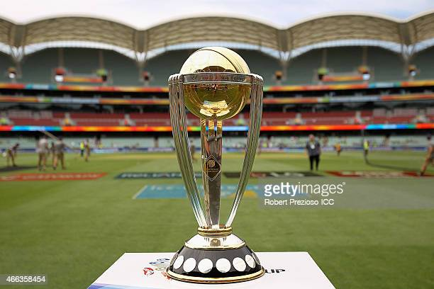 A general view of the trophy during the 2015 ICC Cricket World Cup match between Pakistan and Ireland at Adelaide Oval on March 15 2015 in Adelaide...