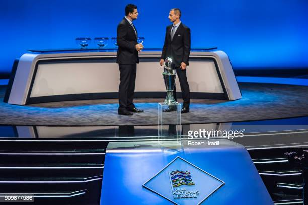A general view of the trophy of the UEFA Nations League on the stage Behind on right Aleksander Ceferin UEFA President during the UEFA Nations League...