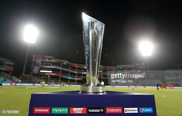 A general view of the trophy on display ahead of the ICC World Twenty20 India 2016 Super 10s Group 1 match between England and Sri Lanka at The Feroz...