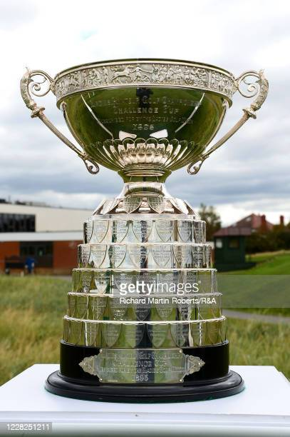 General View of the trophy on the 1st tee prior to the Final on Day Five of The Women's Amateur Championship at The West Lancashire Golf Club on...