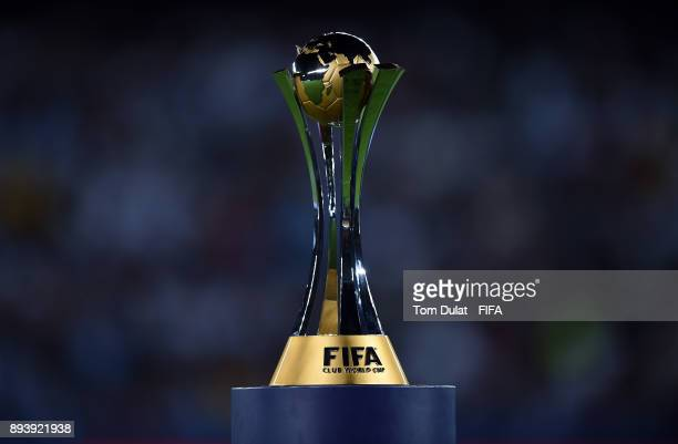 General view of the trophy prior to the FIFA Club World Cup UAE 2017 final match between Gremio and Real Madrid at Zayed Sports City Stadium on...