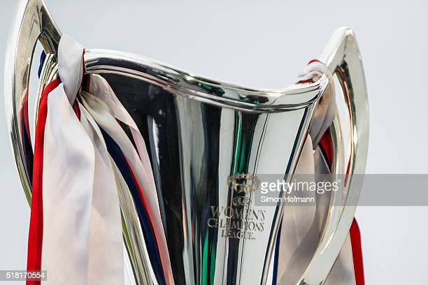 A general view of the trophy prior to the UEFA Women's Champions League quarter final second leg match between 1 FFC Frankfurt and FC Rosengard at...