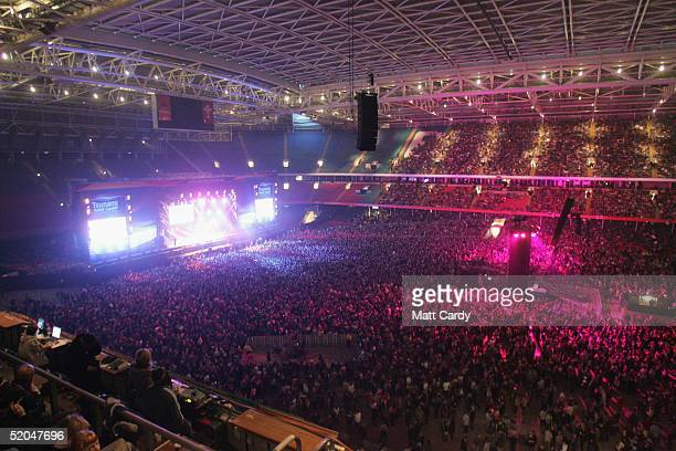 A general view of the Tsunami Disaster Fundraising Concert at the Millennium Stadium on January 22 2005 in Cardiff WalesThe concert aims to raise...
