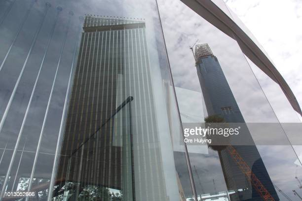General view of the Tun Razak Exchange Tower at the project site on July 30 2018 in Kuala Lumpur Malaysia The Tun Razak Exchange one of the 1MDB...