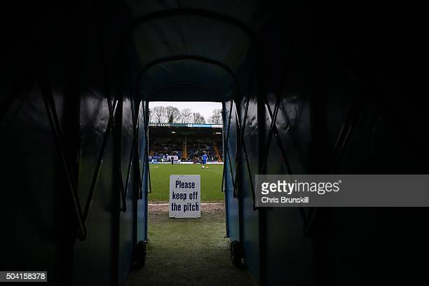 A general view of the tunnel ahead of the Emirates FA Cup Third Round match between Bury and Bradford City at Gigg Lane on January 09 2016 in Bury...