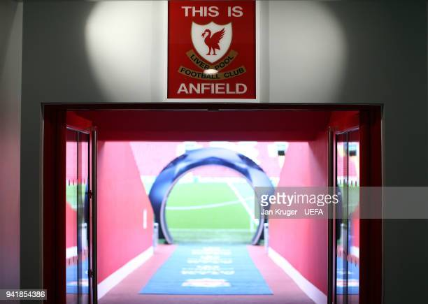 General view of the tunnel ahead of the UEFA Champions League quarter final leg one match between Liverpool and Manchester City at Anfield on April 4...