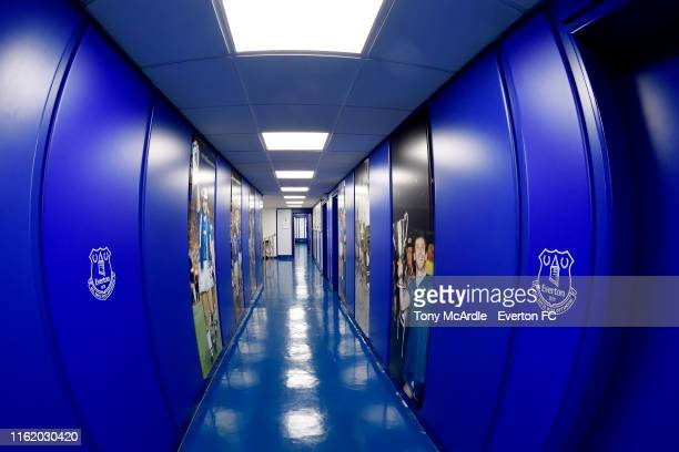 A general view of the tunnel at Goodison Park before the Premier League match between Everton and Watford at Goodison Park on August 17 2019 in...