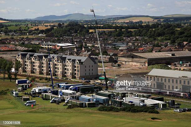 General View of the TV Compound during the second round of the 2011 Ricoh Women's British Open at Carnoustie on July 29 2011 in Carnoustie Scotland