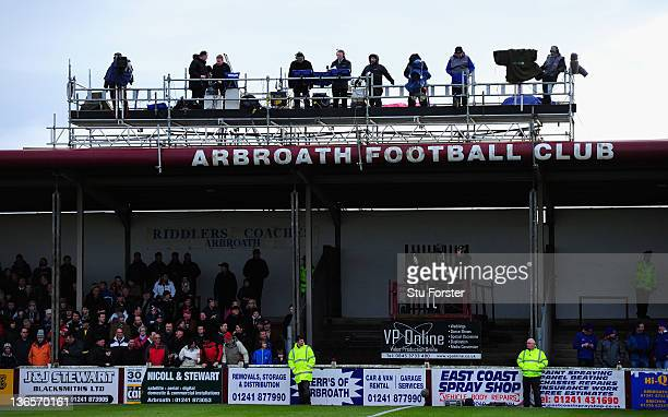 General view of the tv platform during the William Hill Scottish Cup Fourth Round match between Arbroath and Rangers at Gayfield park on January 8...