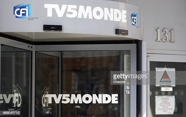 A general view of the TV5Monde headquarters after the French television network was hacked by people claiming to belong to Islamic State on April 9...