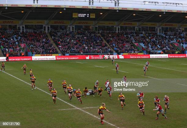 General view of the Twickenham Stoop and the 4542 supporters the highest ever attendance for a Women's club rugby match in the UK during the...