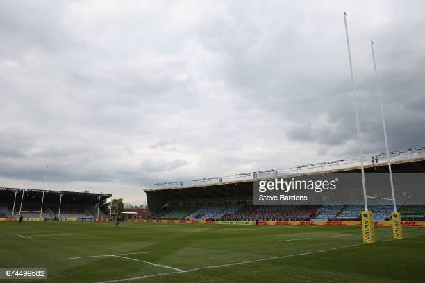 General view of the Twickenham Stoop prior to the Aviva Premiership match between Harlequins and Wasps at Twickenham Stoop on April 28 2017 in London...