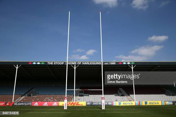 A general view of the Twickenham Stoop prior to the Tyrrells Premier 15s Semi Final 2nd Leg match between Harlequins Ladies and Wasps FC Ladies at...