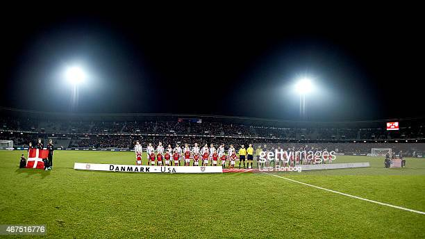 General view of the two team lining up during the national anthems prior to the International Friendly match between Denmark and Unites States at...