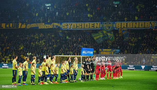 General view of the two teams lining up prior to the Danish Alka Superliga match between Brondby IF and FC Nordsjalland at Brondby Stadion on March 5...