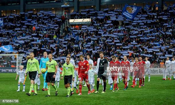 General view of the two teams walking on to the pitch in front of the tiff from the DFDS Family Stand prior to to the Danish Alka Superliga match...