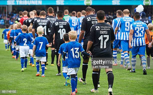 General view of the two teams walking on to the pitch prior to the Danish Alka Superliga match between Esbjerg fB and Brondby IF at Blue Water Arena...
