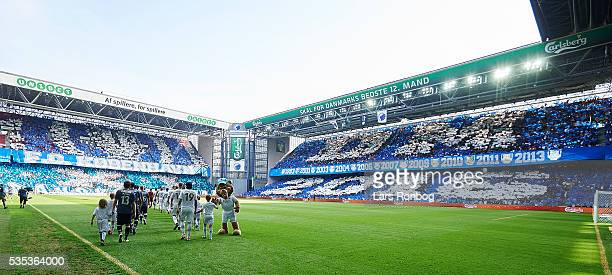 General view of the two teams walking on to the pitch prior to the Danish Alka Superliga match between FC Copenhagen and AGF Aarhus at Telia Parken...