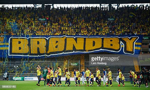General view of the two teams walking on to the pitch prior to the UEFA Europa League qualifier match between Brondby IF and Hertha Berlin at Brondby...
