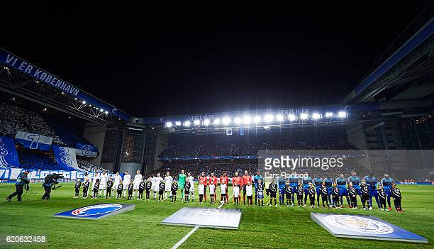 General view of the two teams walking on to the pitch prior to the UEFA Champions League match between FC Copenhagen and Leicester City FC at Telia...