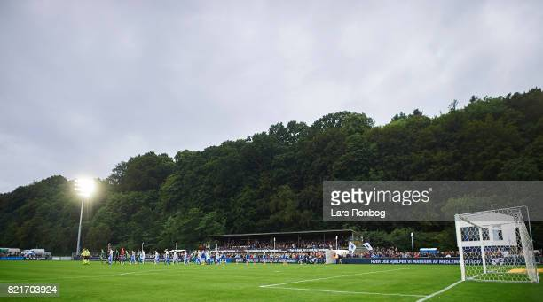 General view of the two teams walking on to the pitch prior to the Danish Alka Superliga match between FC Helsingor and OB Odense at Helsingor...