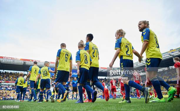 General view of the two teams walking on to the pitch prior to the Danish Alka Superliga match between Brondby IF and Lyngby BK at Brondby Stadion on...