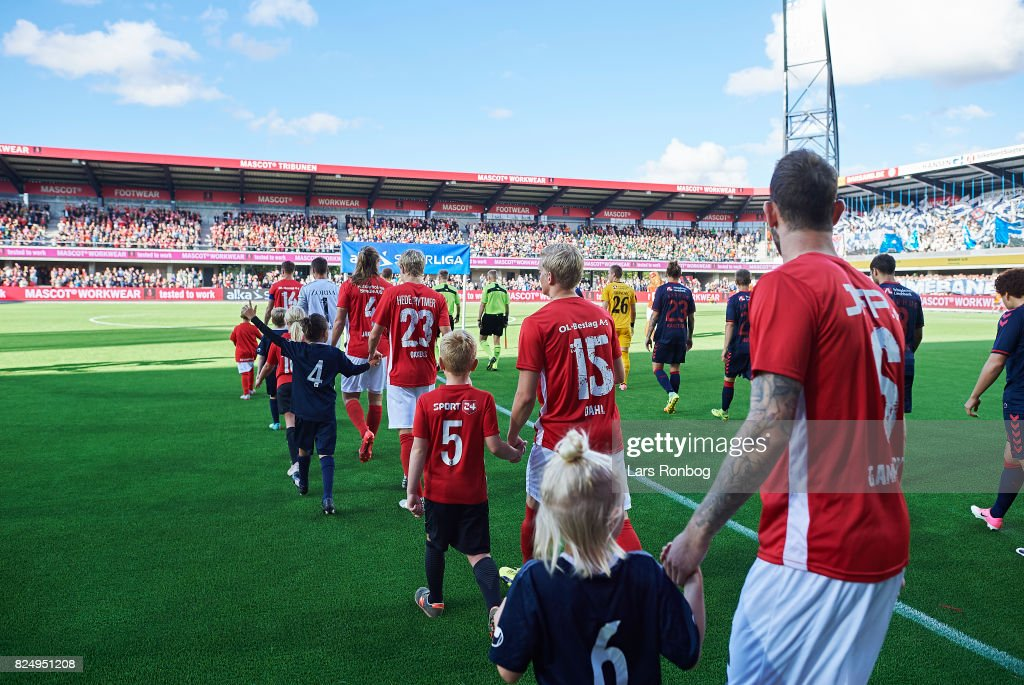 General view of the two teams walking on to the pitch prior to the Danish Alka Superliga match between Silkeborg IF and AGF Aarhus at Jysk Park on July 31, 2017 in Silkeborg, Denmark.