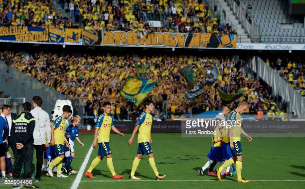 General view of the two teams walking on to the pitch prior to the Danish Alka Superliga match between AGF Aarhus and Brondby IF at Ceres Park on...