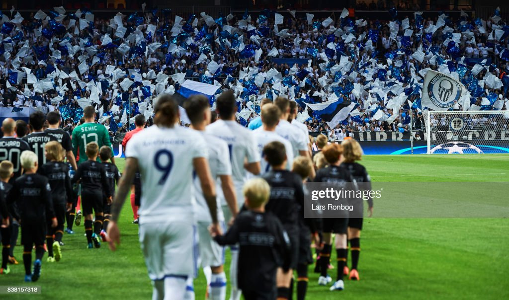 General view of the two teams walking on to the pitch prior to the UEFA Champions League Playoff 2nd Leg match between FC Copenhagen and Qarabag FK at Telia Parken Stadium on August 23, 2017 in Copenhagen, Denmark.